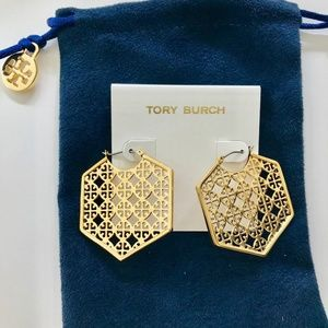 Tory Burch Gold Perforated Logo Hexa Hoop Earrings